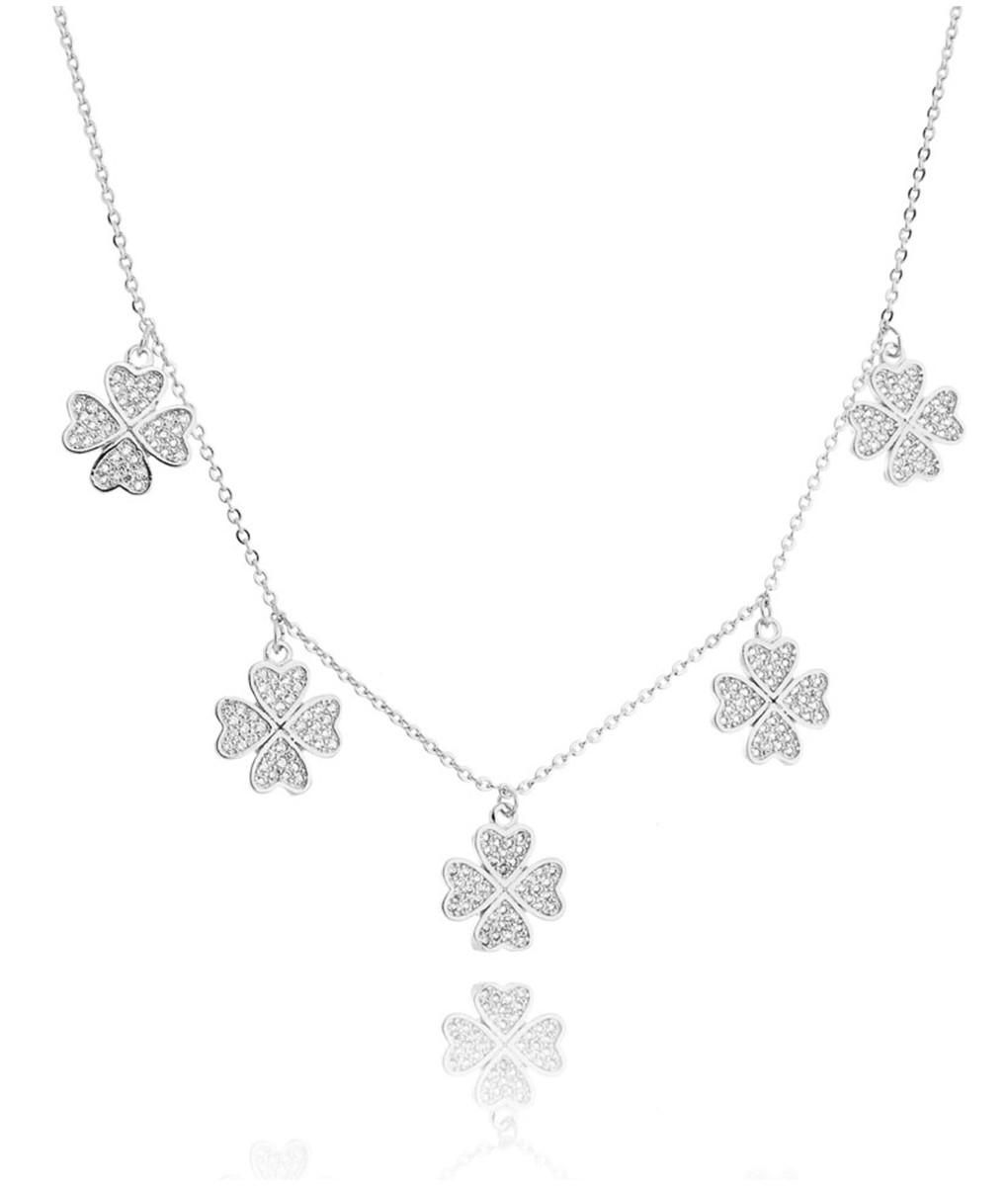 colar prata com trevos cravejados de zirconias semi joias modernas