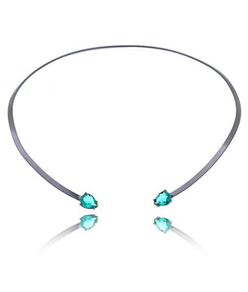 Semi joias da moda: choker rígida banhada a ródio negro com gotas de turmalina.