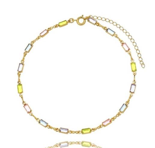 Semijoias Waufen: tornozeleira dourada com cristais coloridos.