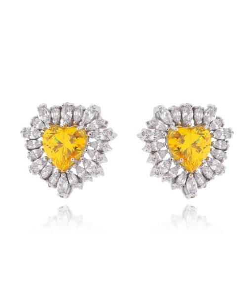 brinco coração amarelo com zirconias brancas semi joias de luxo