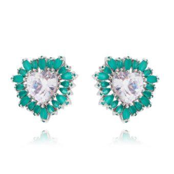 brinco de coração esmeralda com zirconias cristais acessórios femininos da moda