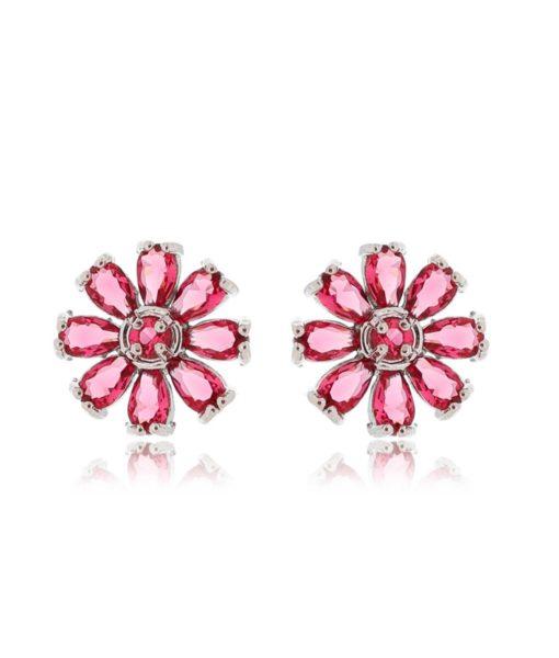 brinco de flor rubi com banho de rodio semi joias finas