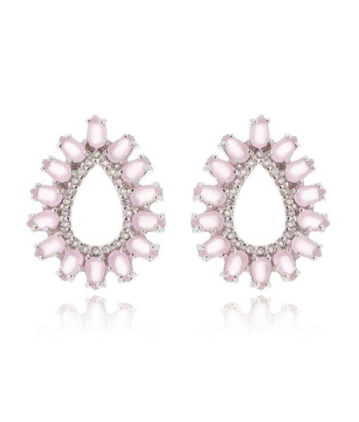 brinco da moda quartzo rosa com zirconias cristais e banho de rodio semi joias online