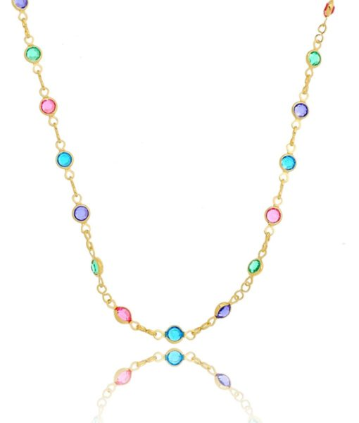 Semijoias Waufen: colar dourado com cristais coloridos.