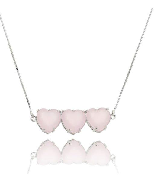 colar de coracao triplo prata rosa quartzo semijoia