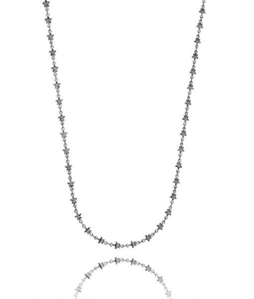 colar de estrelinhas rodio negro semi joias finas