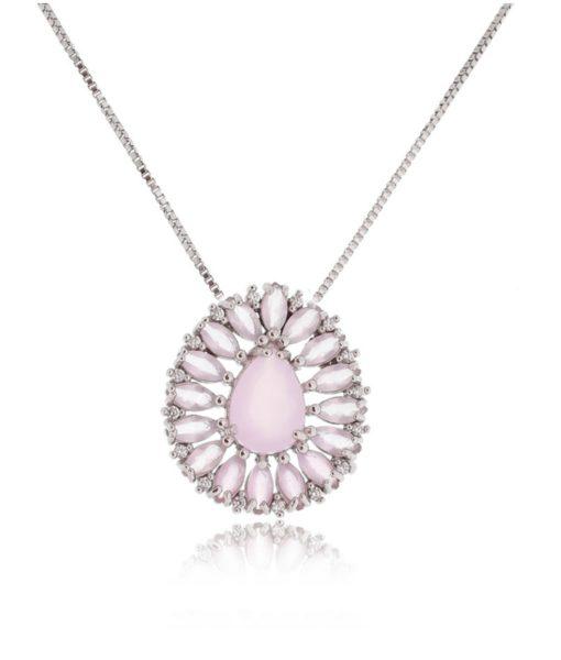 colar delicado quartzo rosa com zirconias e banho de rodio semi joias finas