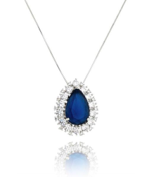 colar de gota luxuoso semijoia fina azul