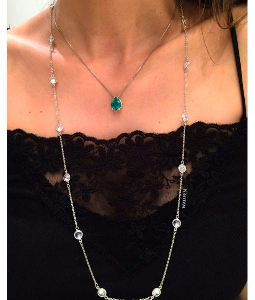 Semijoias Waufen: colar delicado Tiffany. Peça banhada a ródio e cravejado com zircônias.