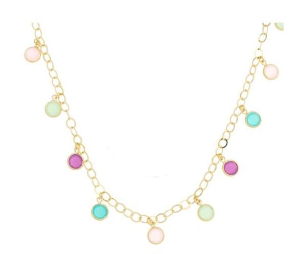Semi joias Waufen: colar longo com cristais coloridos.