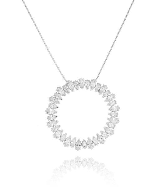 colar mandala prata com zirconias cristais acessórios femininos da moda