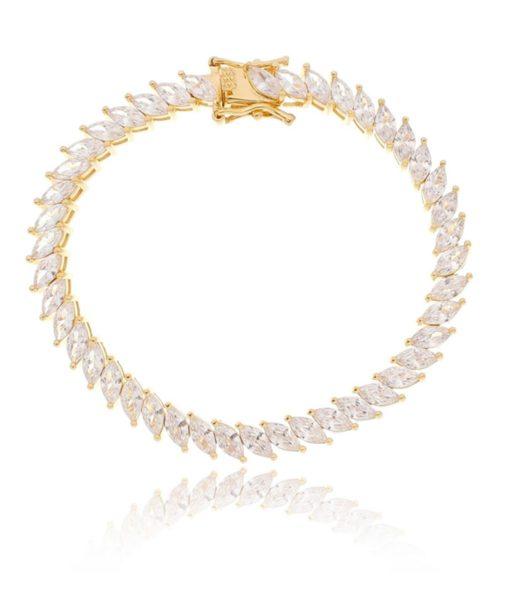 pulseira de navetes brancas semijoias douradas
