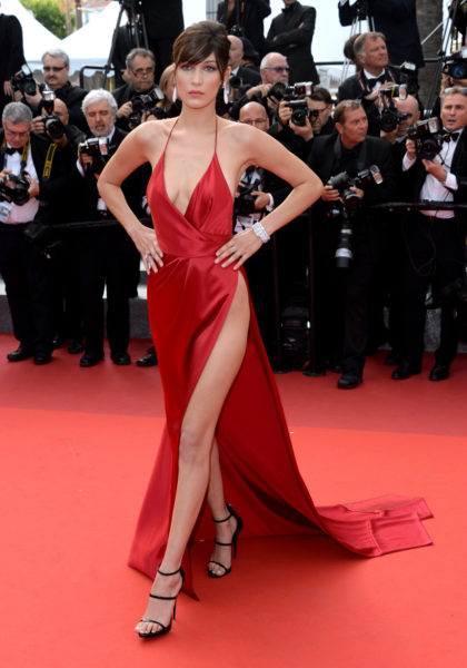 "CANNES, FRANCE - MAY 18: Bella Hadid attends a screening of ""The Unknown Girl (La Fille Inconnue)"" at the annual 69th Cannes Film Festival at Palais des Festivals on May 18, 2016 in Cannes, France. (Photo by Anthony Harvey/FilmMagic)"