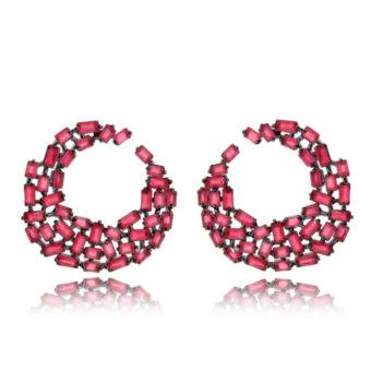 brinco argola rodio negro com zirconias rubi semi joias da moda