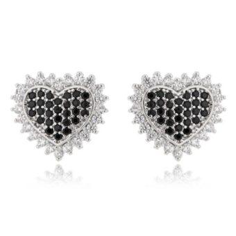 brinco delicado coração com zirconais pretas semi joias finas