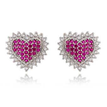 brinco delicado de coração com zirconias rubi e cristais semi joias finas