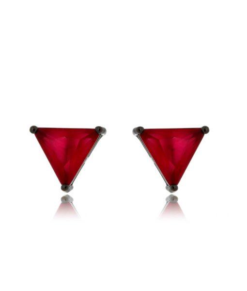 Semijoias Waufen: brinco de triângulo banhado a ródio negro.