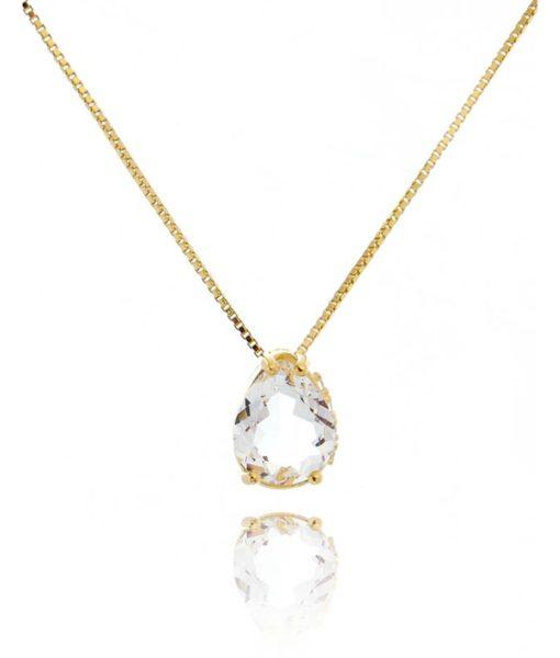 colar de gotinha dourado zirconia cristal cravacao na lateral