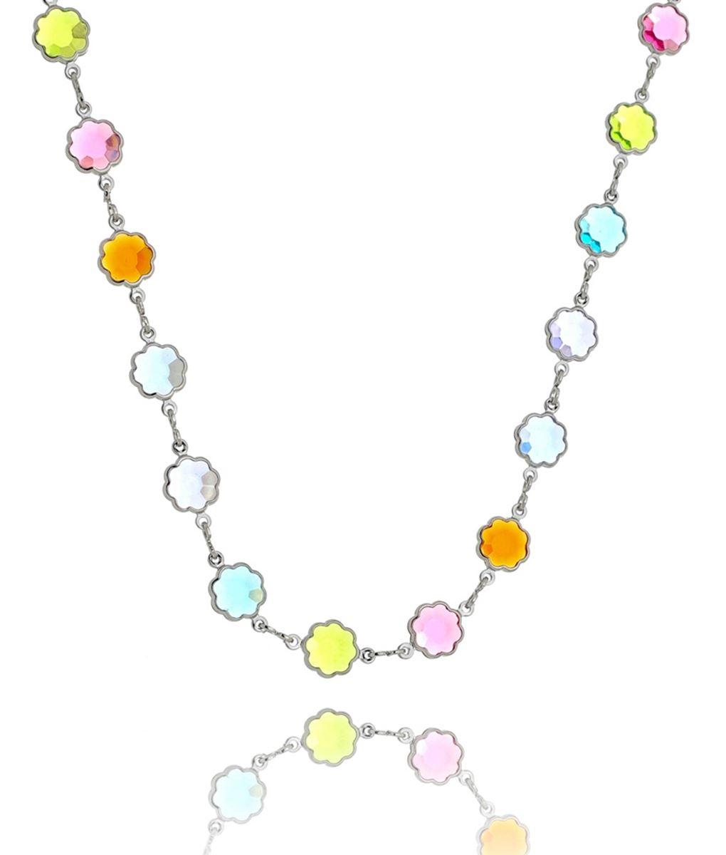 colar florzinha colorida cristais semijoia prata