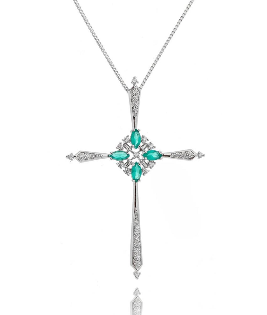 crucifixo da moda com zirconias verdes semi joia religiosa