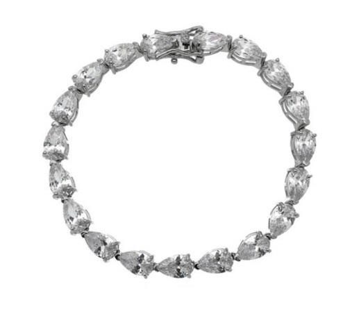 Semijoias Waufen: pulseira banhada a ródio e cravejada com zircônias de cristais.