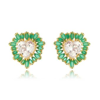 brinco coração folheado a ouro com zirconias cristais e esmeralda semi joias contemporaneas