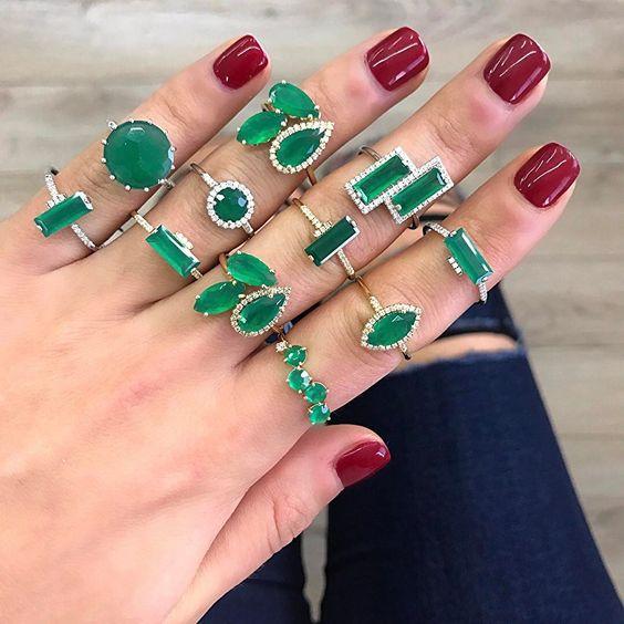 aneis esmeraldas da moda semijoias