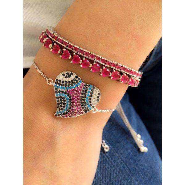 pulseira de coracao zirconias e pulseiras rubis ajustaveis