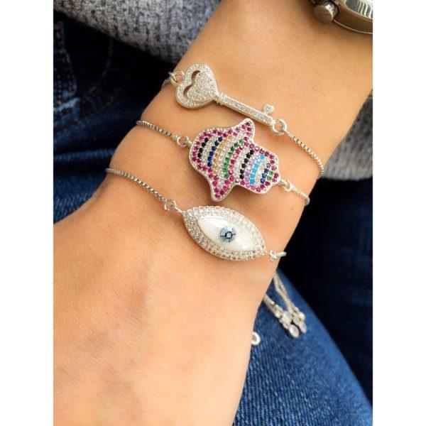 pulseira de olho grego e hamsa coloridas semijoias