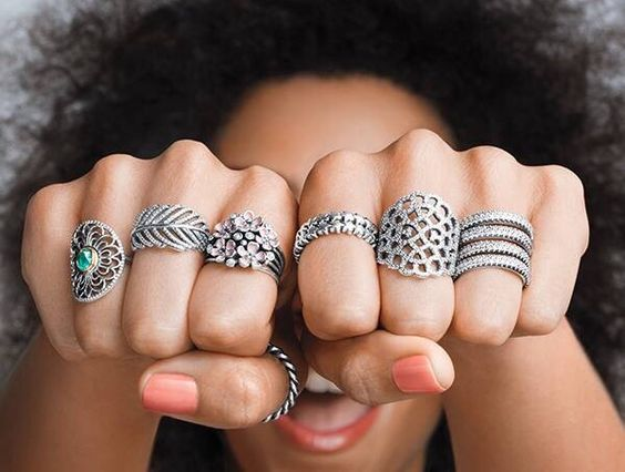 Anéis grandes prata