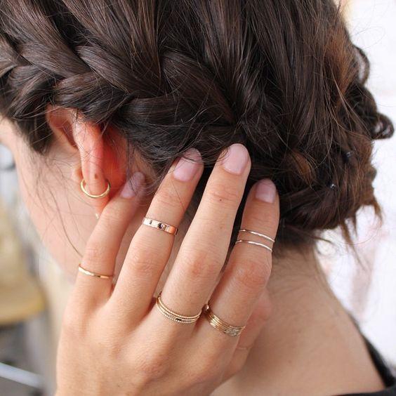 Combinação anéis delicados