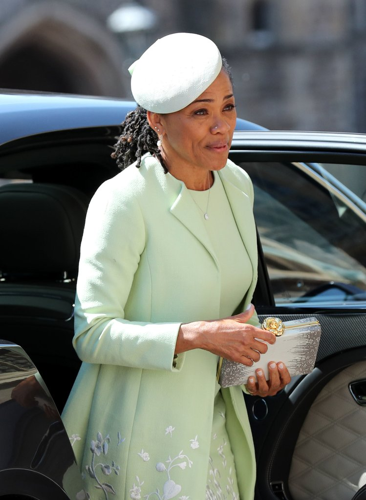 Doria acompanhou Meghan durante seu percurso de chegada a St George's Chapel