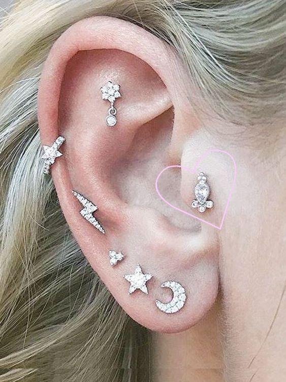 Composição com muitos brinquinhos fofos no lóbulo da orelha e piercings super fofos/ Reprodução: Pinterest