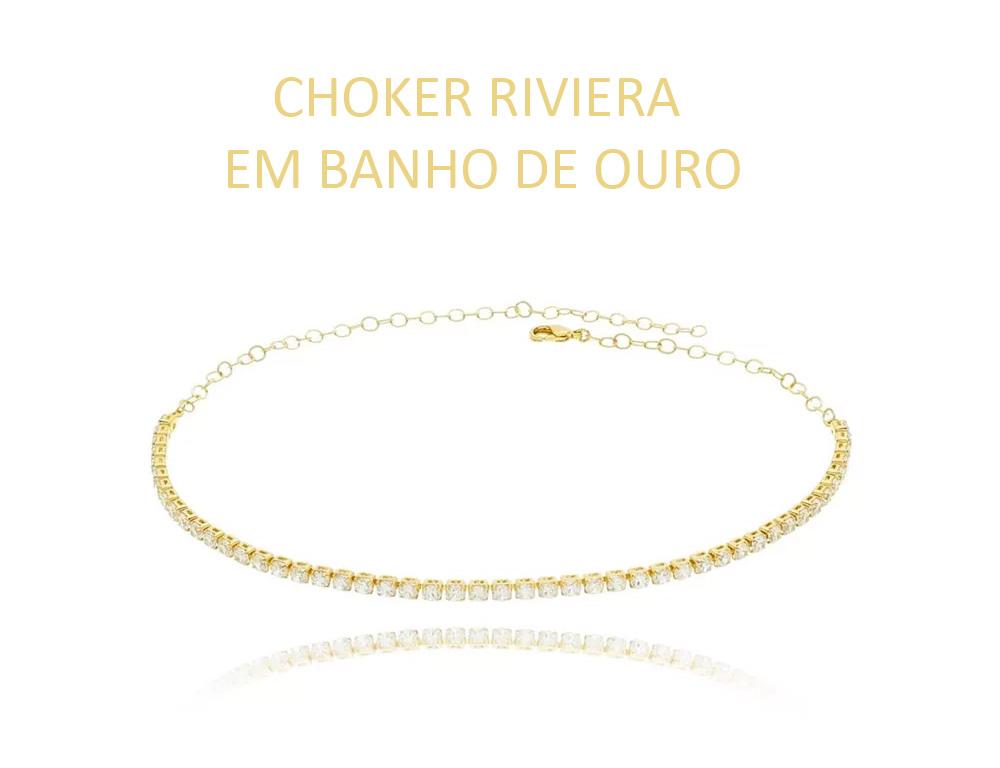 Choker Riviera em Banho de Ouro