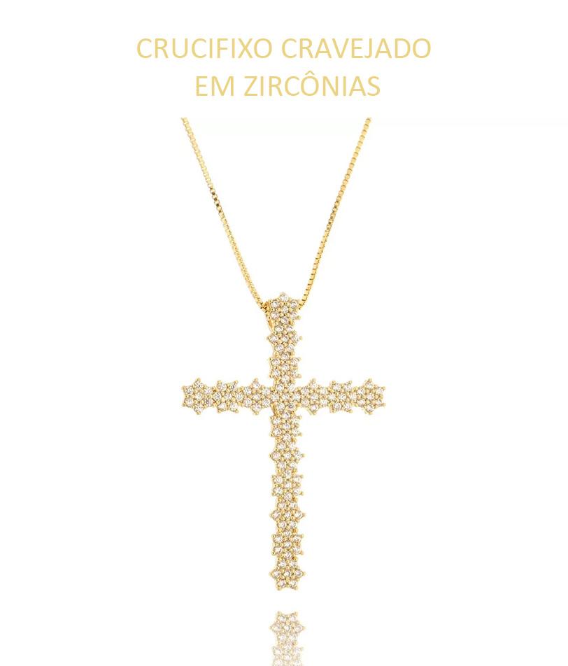 Crucifixo Cravejado em zirconias