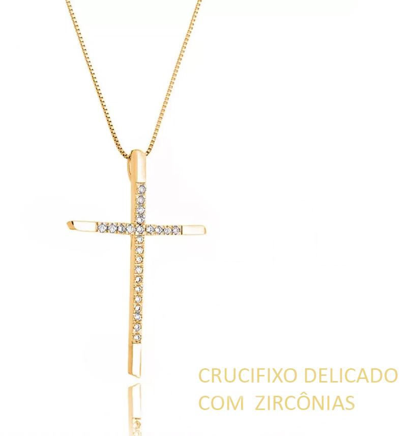 Crucifixo Dourado Cravejado Zirconias Semijoias