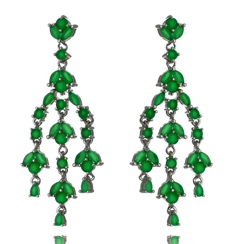 Brincos para festa chandelier esmeralda