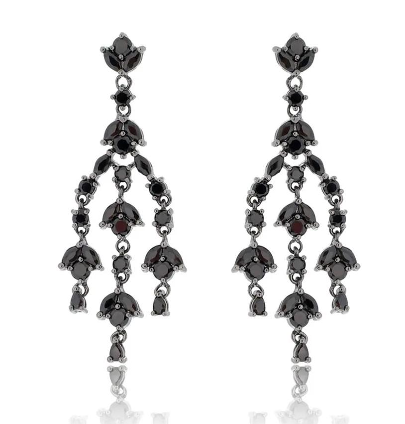 Brincos para festa chandelier preto