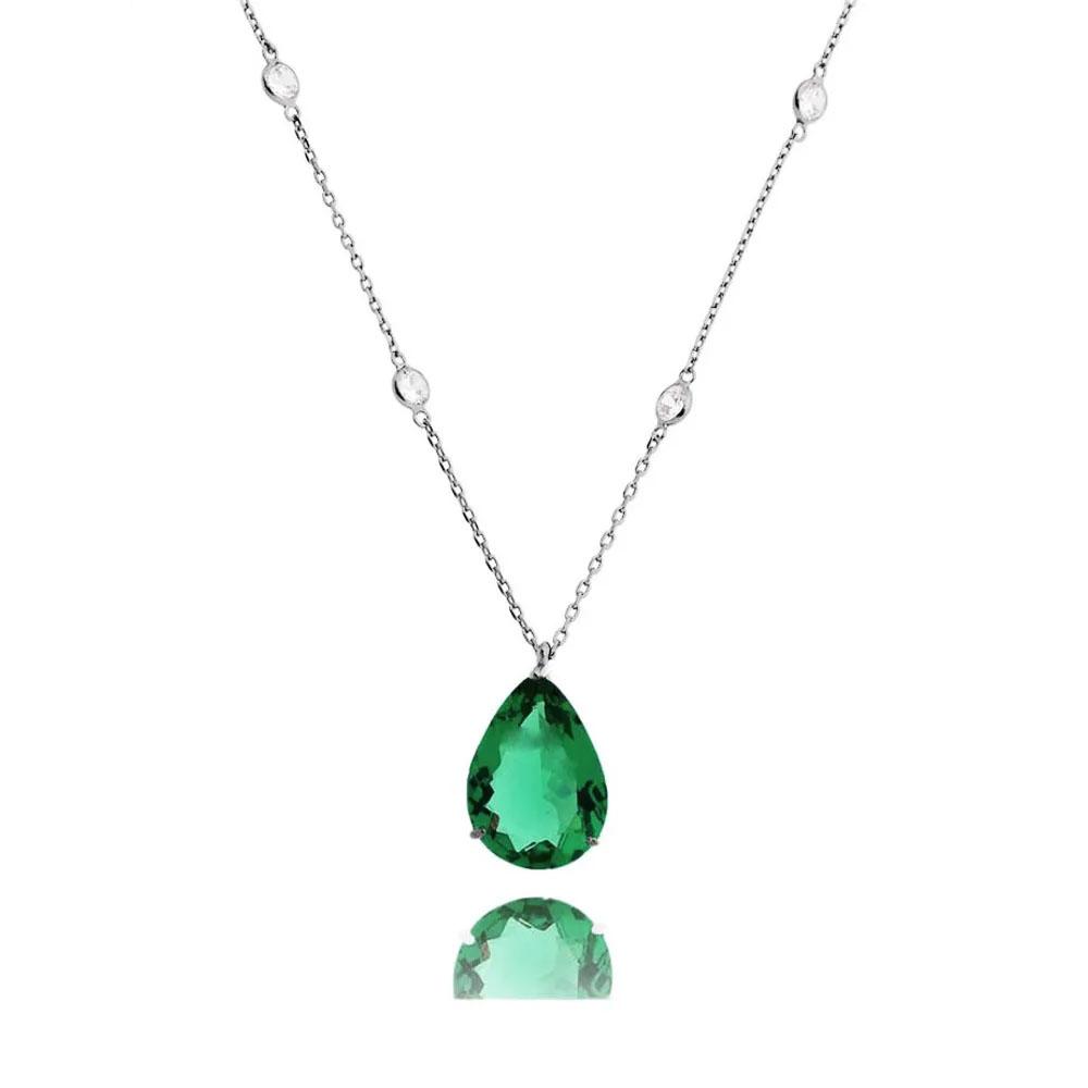 colares da moda maxi gotas esmeralda