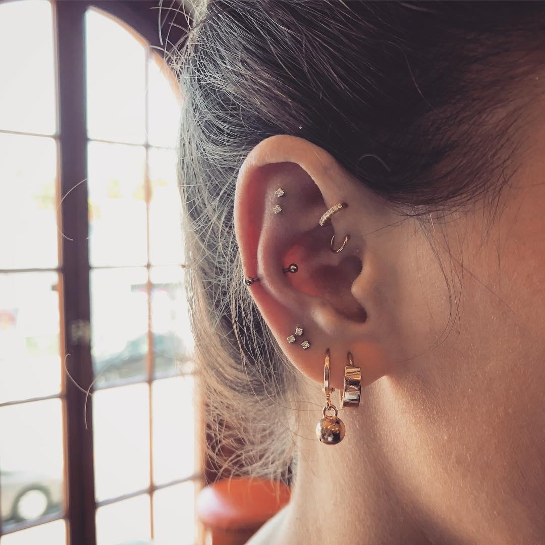 Piercings na orelha anti tragus
