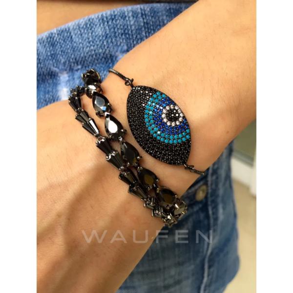 pulseiras rivieras de luxo rodio negro e pulseira olho grego