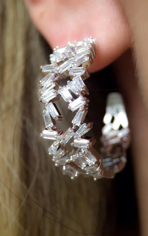 Brincos Statement Zircônias cristais Baguetados