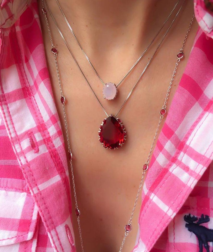 Joias rosa colar