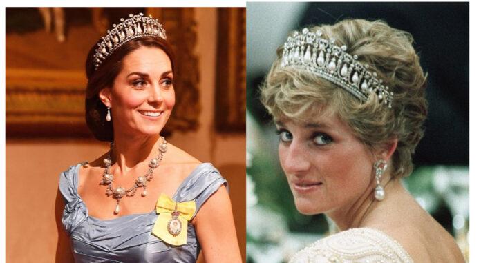 Kate e Diana com tiara Lover's Knot