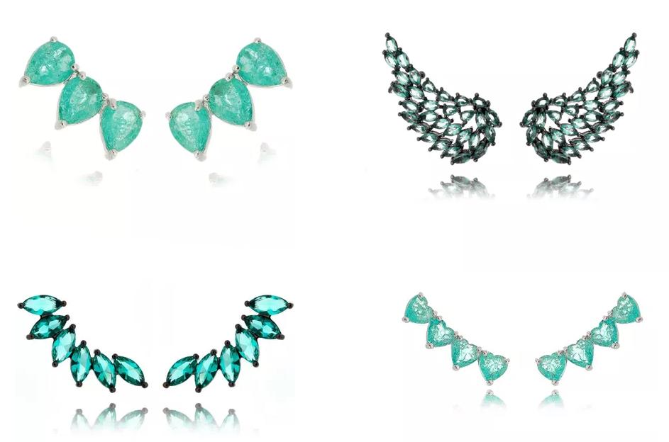 Semijoias turmalina ear cuffs