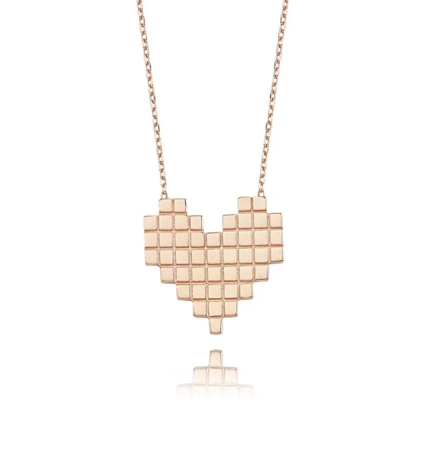 Colar de coração ouro rose