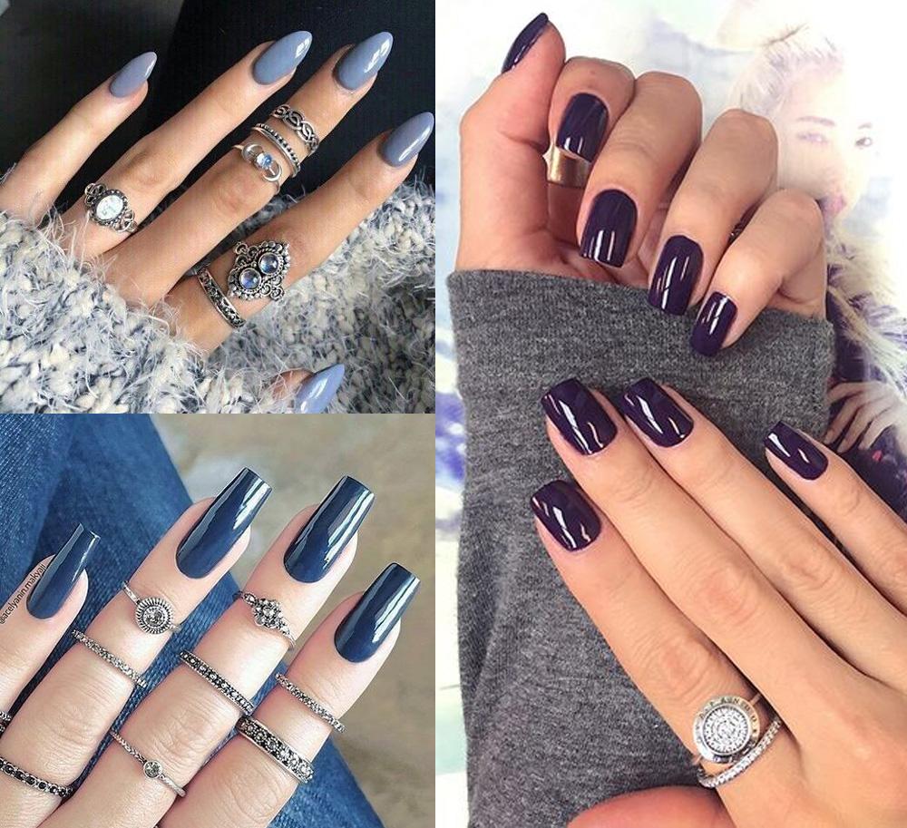 Combinar anel com esmalte com cores frias