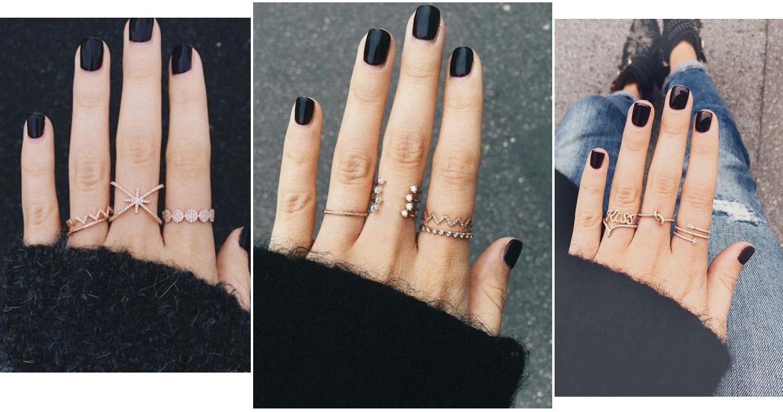 Combinar anel com esmalte escuro