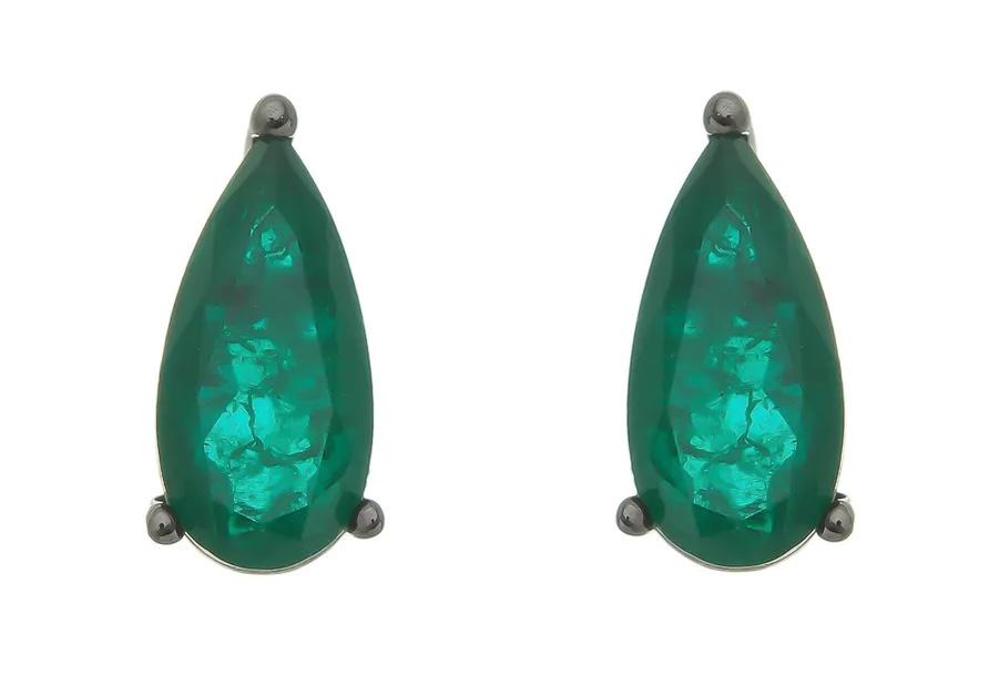 Semi joias fusion brinco esmeralda rodio negro