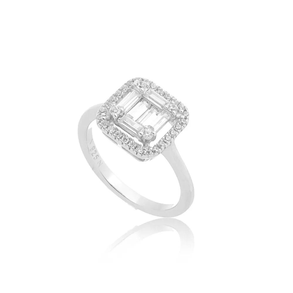 Semi joias luxuosas anel baguete
